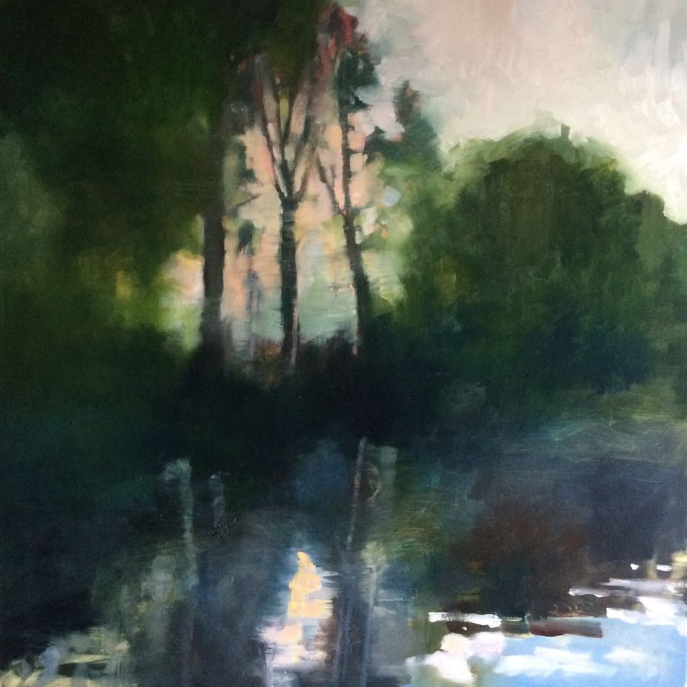 Riverbank: large original oil painting by Jane  Kell