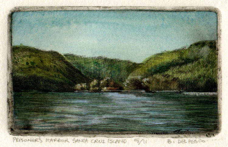Prisoner's Harbor, Santa Cruz Island (framed mini drypoint print) - Image 0