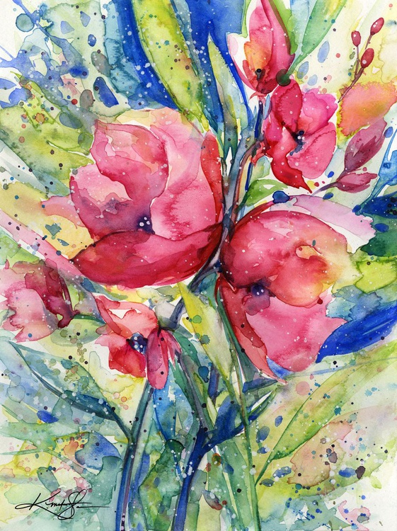Alluring Blooms 4 - Abstract Floral Watercolor by Kathy morton Stanion - Image 0