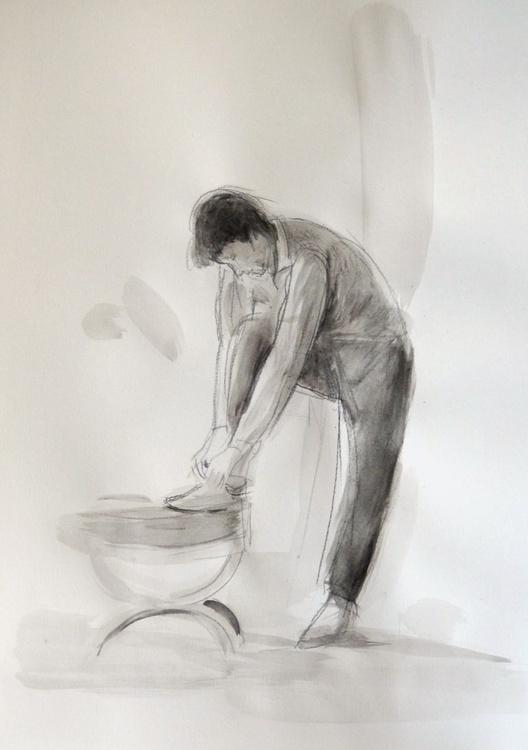 Fastening the shoelace, 29x42 cm - Image 0