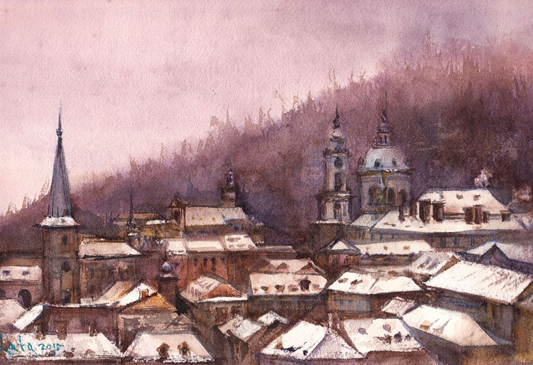 Prague First Snow /Framed/ Ready to hang!/ - Image 0