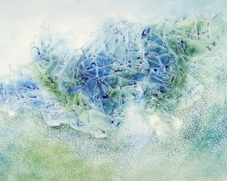 Kristalline Strömungsstrukturen (blau-grün)   Crystalline flow structures (blue-green) - Image 0