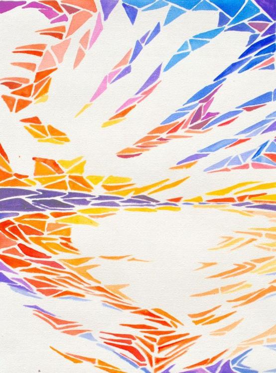 Geometric Abstract Landscape Painting - Sunset #1 Acrylic on Canvas Paper - Image 0