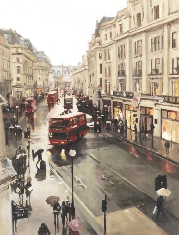 Raining on Regent Street, London oil painting - Image 0