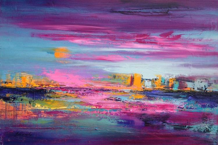 Distant City - 40 x 60 cm, turquoise, orange, magenata abstract cityscape painting - Image 0