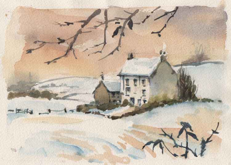 House in the snow, Broughton in Furness, Cumbria -