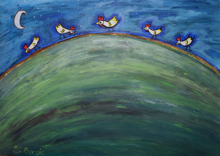 Chickens by the Moon Light on hills - Image 0