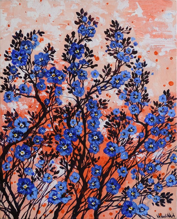 Blue Flowers Painting - Image 0