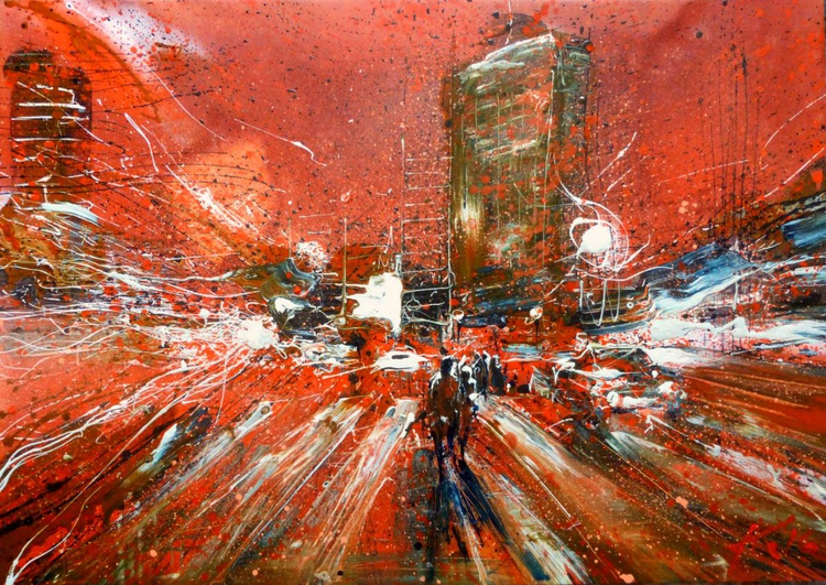 Evening lights,  large oil painting 100x70  cm - Image 0