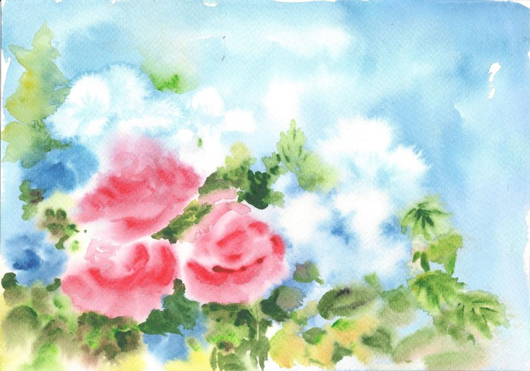 """Abstract Flowers 10""""x 7"""" - Image 0"""
