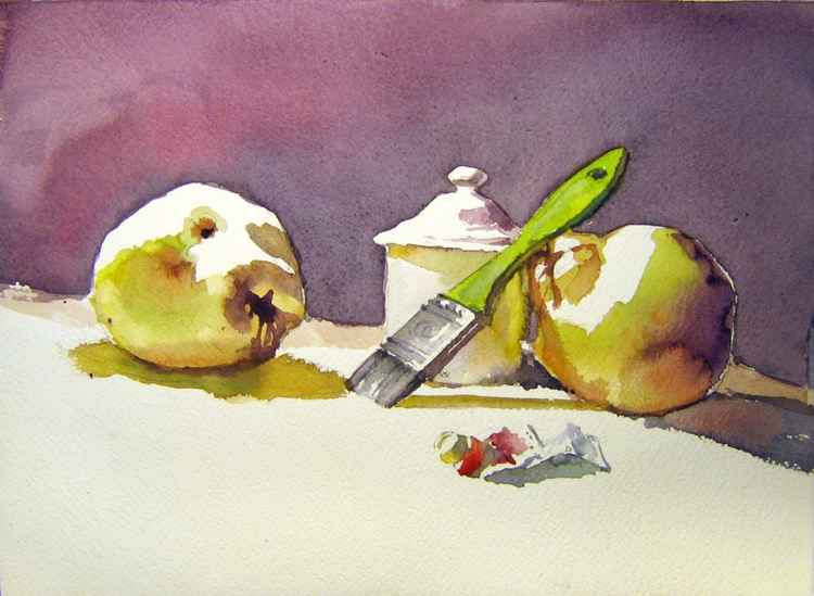 still life with quinces and brush