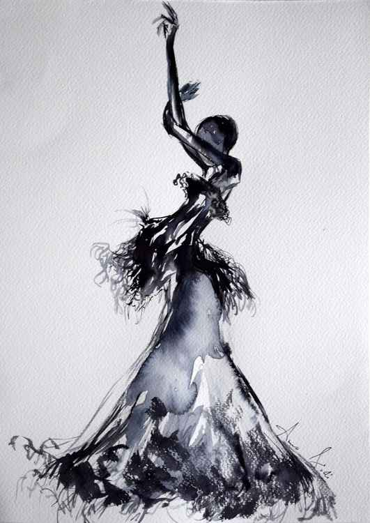 Fashion in ink III / Series of ink painting on paper -