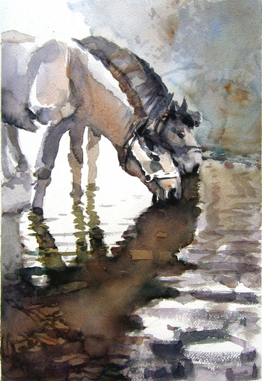 Horses on the river - Image 0
