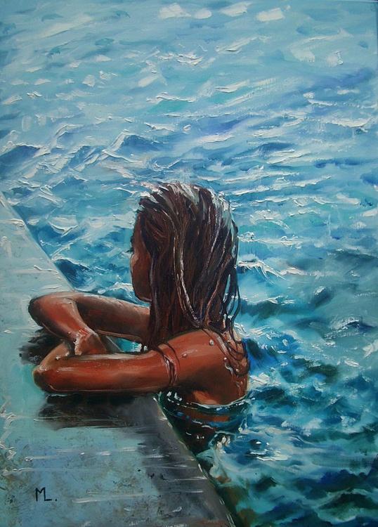 """ SUMMER EVENING  "" SEA original painting palette knife GIFT MODERN URBAN ART OFFICE ART DECOR HOME DECOR GIFT IDEA - Image 0"