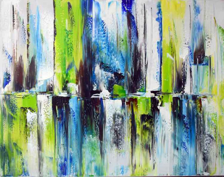 Distant Blues - Abstract Acrylic Art Painting - 28x35 inch, 2015  [Discounted Sale] -