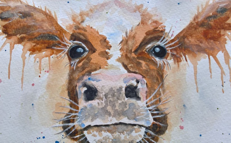 """WHO, ME?"", Cow painting, original watercolour - Image 0"