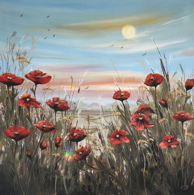 Red poppies under full moon - Image 0