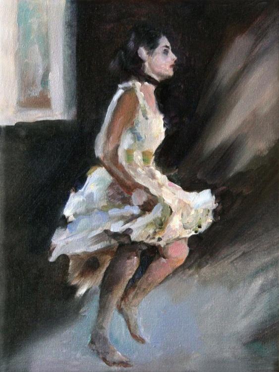 Girl in white 2 (18 x 24 cm.) - Image 0
