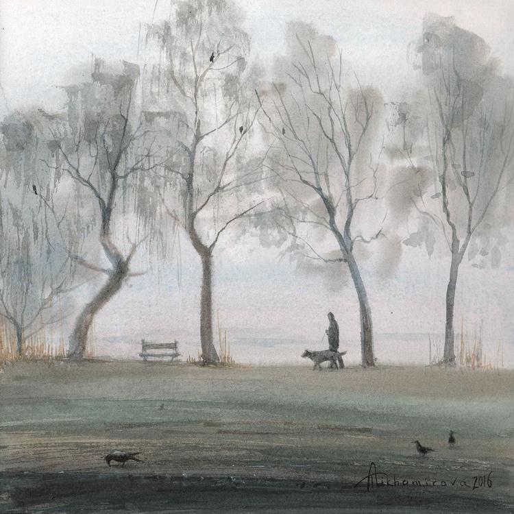 Dog Walking in the Fog - Image 0