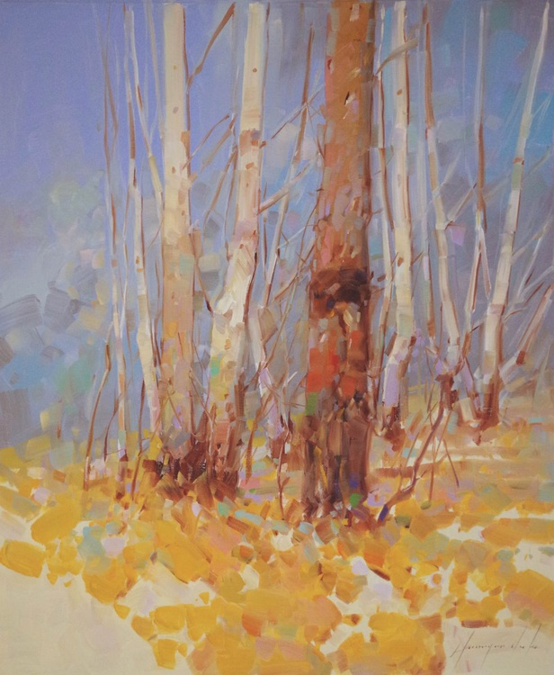 Landscape Birches Original oil painting One of a kind Signed with Certificate of Authenticity - Image 0