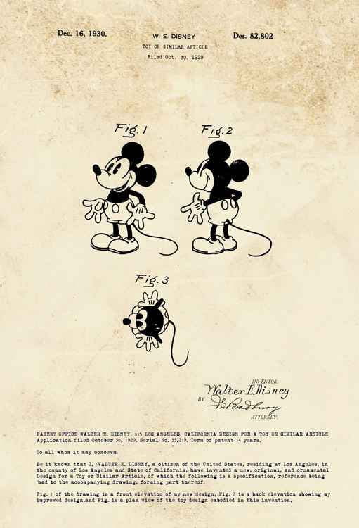 Mickey Mouse character patent - Sepia - circa 1930