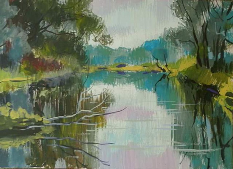 on the river, 39x28 cm - Image 0