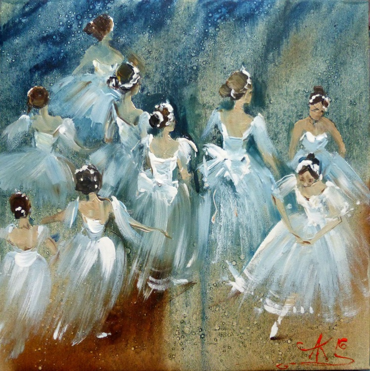 Ballet, oil painting 30x30 cm - Image 0