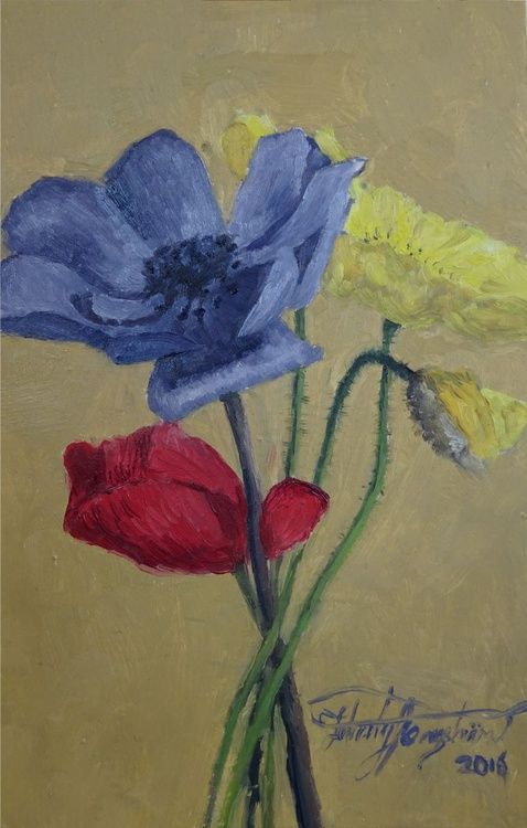 Poppies, (Little Flower Painting series #2) - Image 0