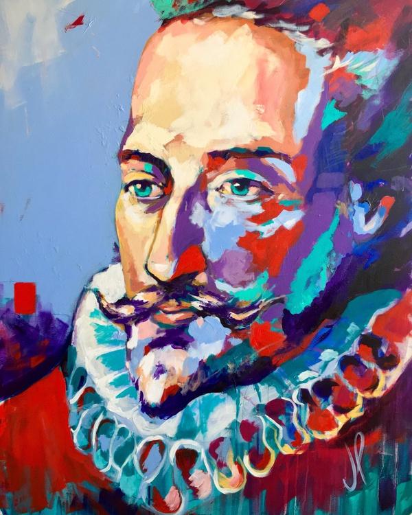 Miguel de Cervantes Saavedra Acrylic on Canvas 116x89cm - Image 0