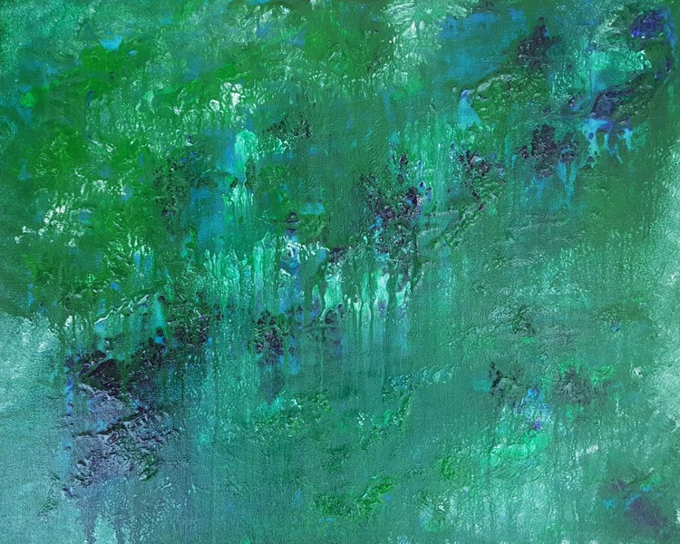 Green pastures - abstract landscape on stretched canvas, ready to hang, unique frothing technique, 50x40cm - Image 0