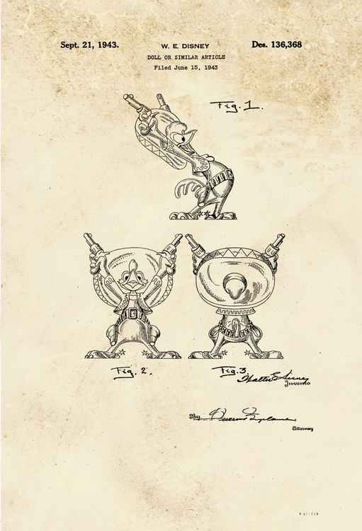 Disney Rooster character patent - sepia - circa 1943
