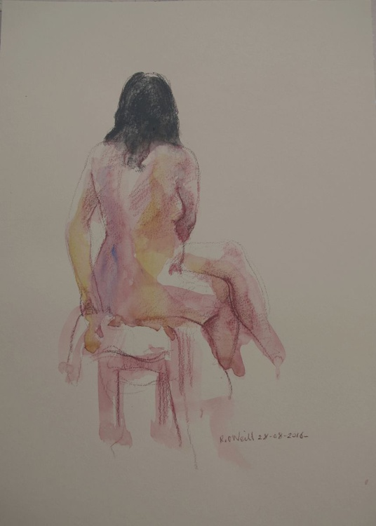 Back view of female nude - Image 0