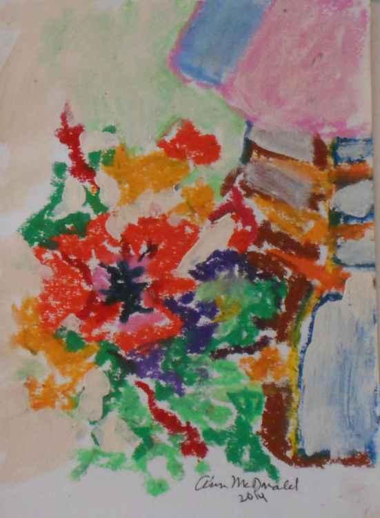 Flowers in Vase by Lamp #2