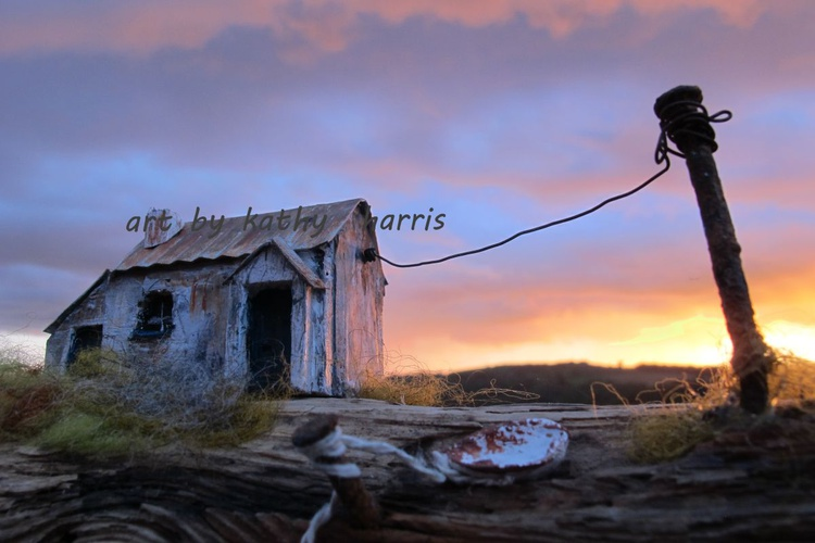 Sculpture art photo of derelict house with boat (sun down) - Image 0