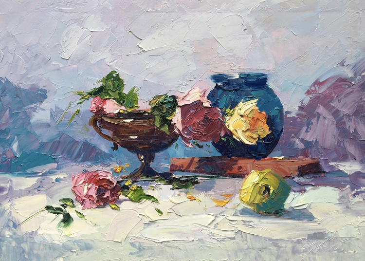 Still Life Painting Fine Art Abstract Art Still Life Oil Painting Still Life Roses Flowers Painting Original Painting Gift for Her Wife Gift - Image 0