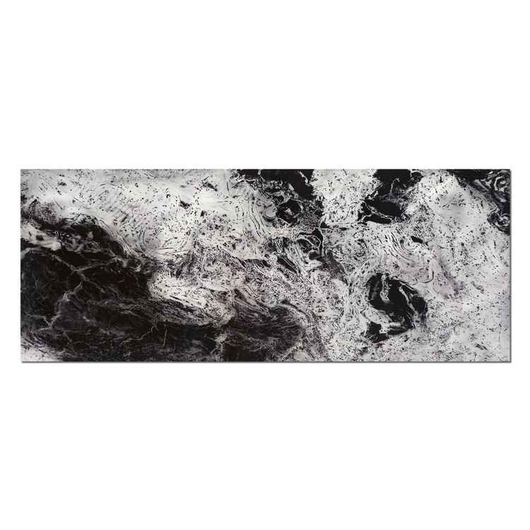 Storm Black & White | Swirling Black Abstract Art, Giclée on Metal