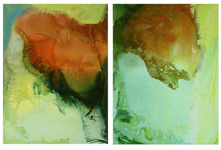 Working in varnish 140 (Diptychon-green-orange) - Image 0