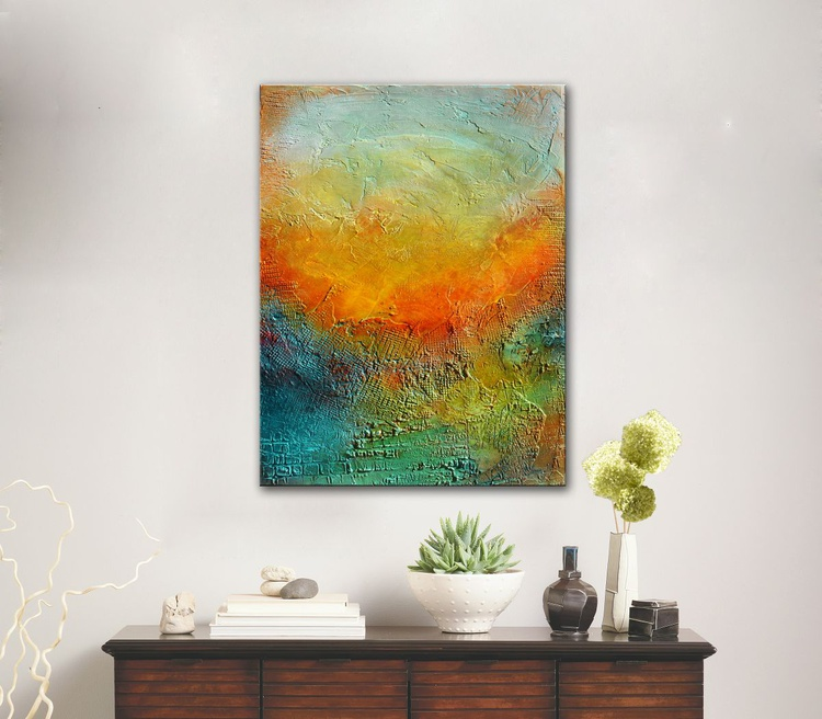 Here Comes the Sun  -  Original Abstract Landscape Painting on canvas, ready to hang - Image 0