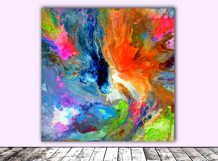 Blue Fire - Abstract Painting - Ready to Hang, Hotel and Restaurant Wall Decoration - Image 0