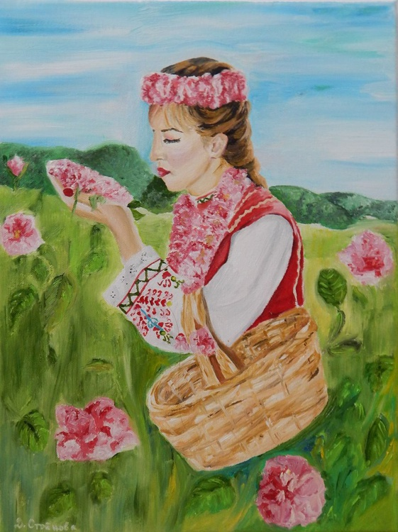 """""""Woman in the rose valley""""-original oil painting woman wall art home decor ready to hang - Image 0"""