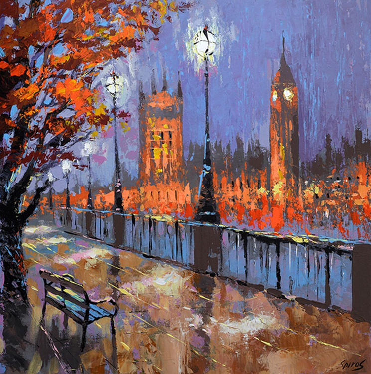 "Night autumn london - Oil Painting on Canvas by Dmitry Spiros. Size: 60cm x 60 cm, (24""x24"") - Image 0"