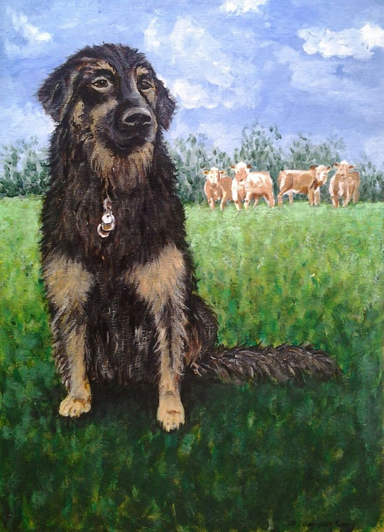 """""""PLEASE MAY I PLAY WITH THE COWS NOW?"""" 10""""×14"""", acrylic on canvasboard painting of dog and cows - Image 0"""