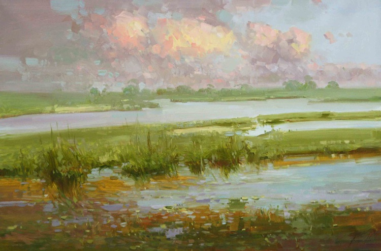 Landscape oil Painting One of a kind Large Size Tonalism - Image 0
