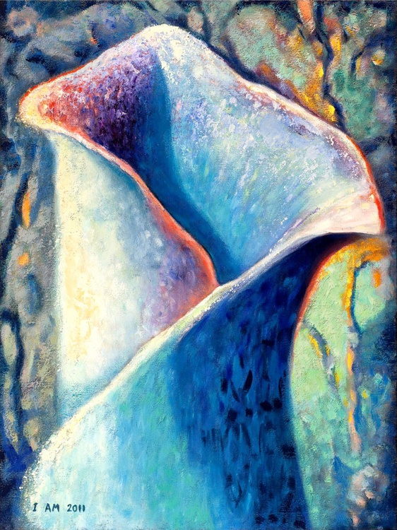 """Floral Acrylic Painting 30"""" x 40"""" Blue Flower """"Ice Lily"""" - Image 0"""