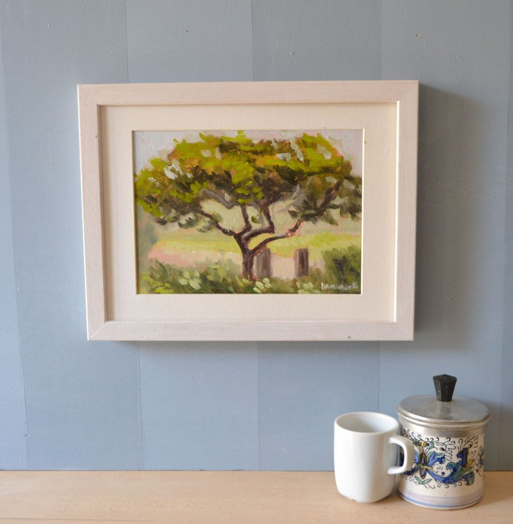 Tree in the Villa above Florence Italy Plein Air Landscape Oil Painting - Image 0