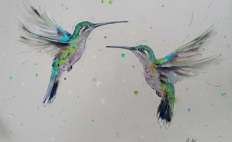 Hummingbirds In The Air - Pastel painting on paper - Impressionist - Image 0