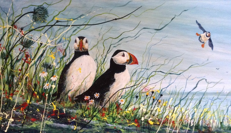 Puffin Lookout. Acrylic and inks on canvas 100x30cm. Scottish seascape - Image 0