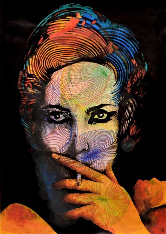 Smoking Girl - Vibrations Mixed Media Art On A2 Paper - Image 0