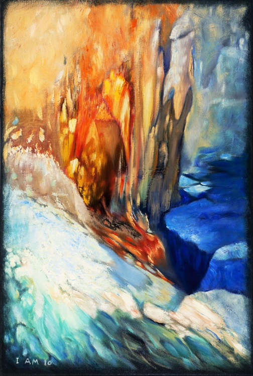 Abstract Oil Painting Textured Canvas Ice And Fire Landscape Seascape - Image 0