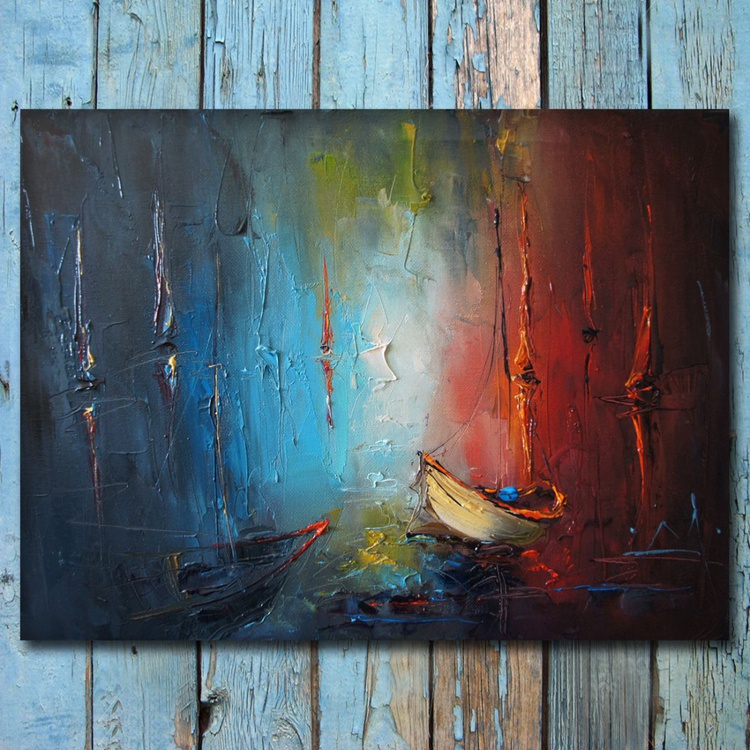 Sea shadows 2. Modern Seascape Painting, Free Shipping - Image 0